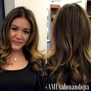 Balayage & Soft Waves with a strong part By Senior Designer, Meghan